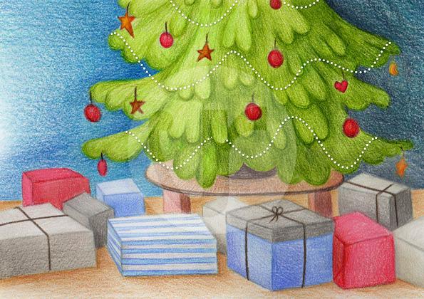 """Illustrationen (S.2) für mein Kinderbuch """"Besuch in der Weihnachtswerkstatt"""""""