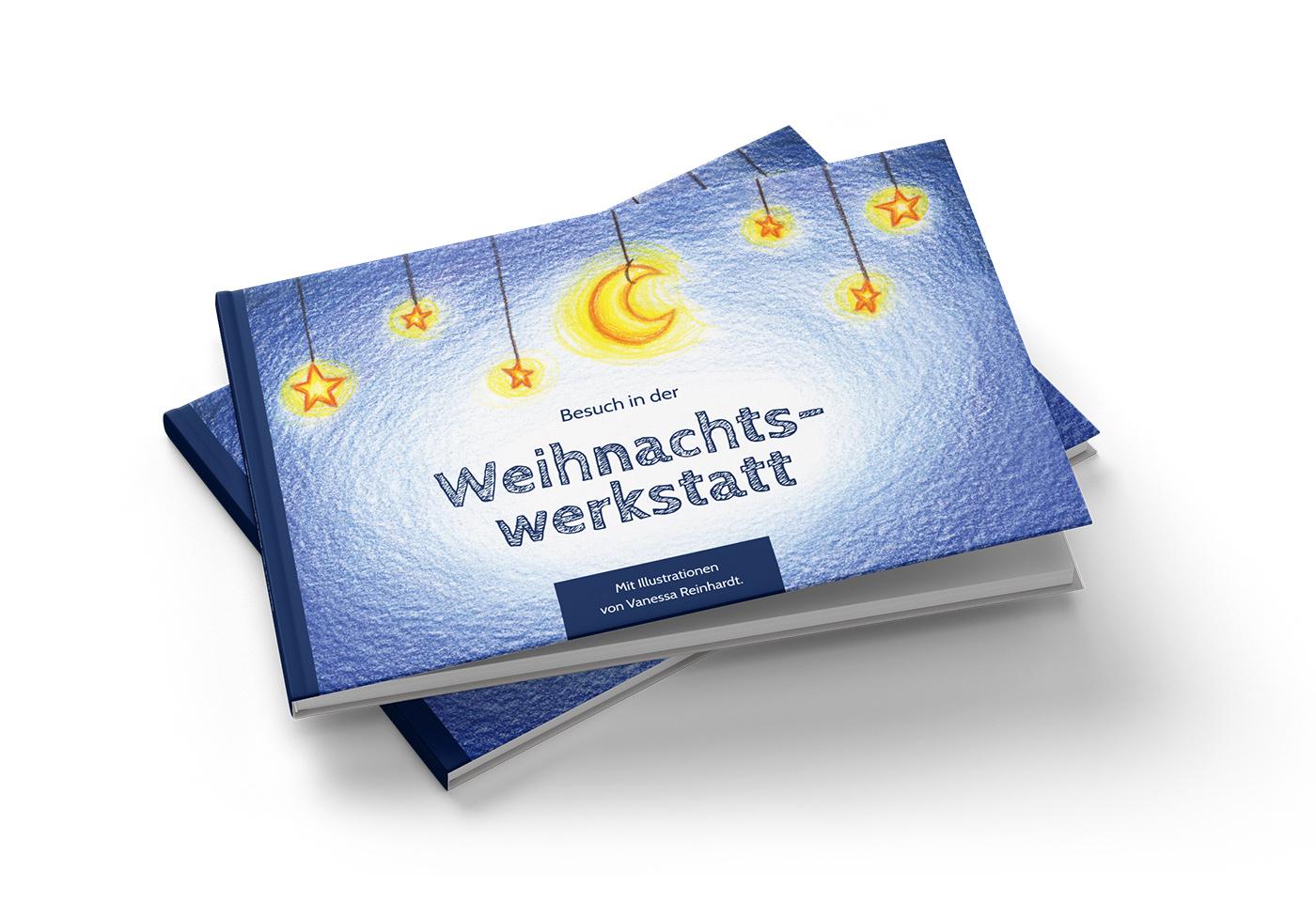 """Buch-Gestaltung/Illustrationen (Cover) für mein Kinderbuch """"Besuch in der Weihnachtswerkstatt"""""""