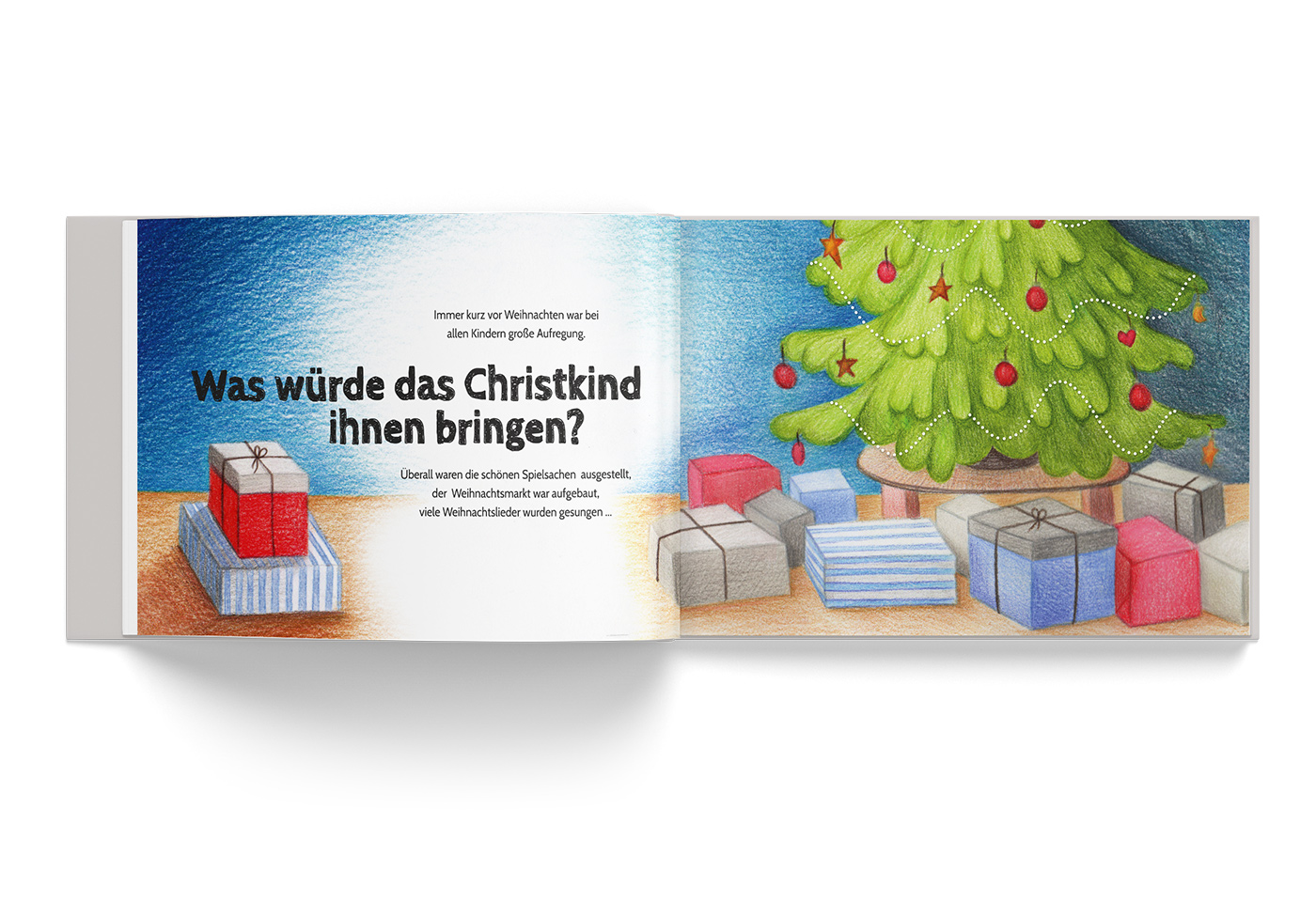 """Buch-Gestaltung/Illustrationen (S.3) für mein Kinderbuch """"Besuch in der Weihnachtswerkstatt"""""""