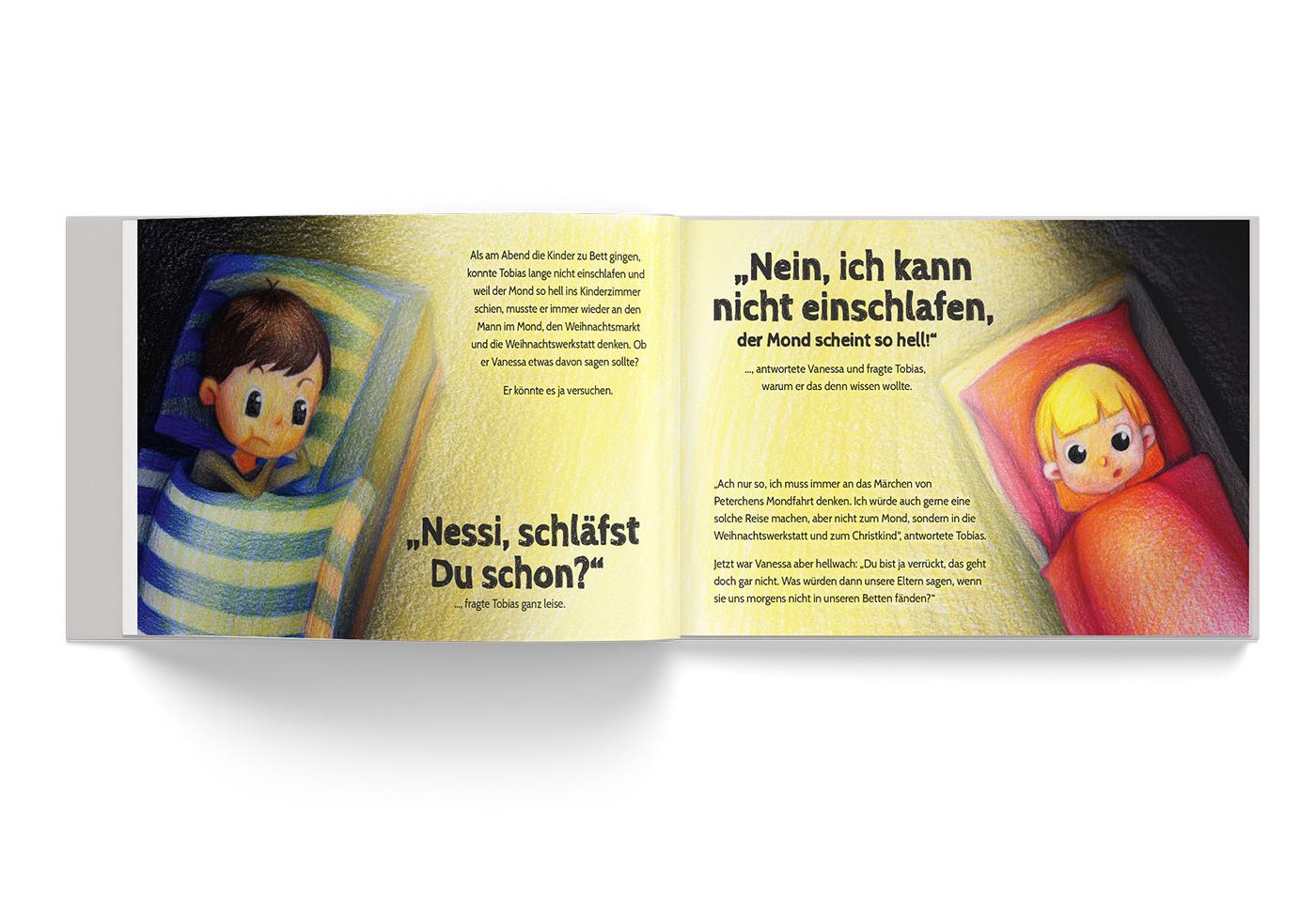 """Buch-Gestaltung/Illustrationen (S.4) für mein Kinderbuch """"Besuch in der Weihnachtswerkstatt"""""""