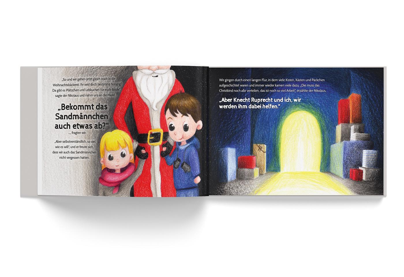 """Buch-Gestaltung/Illustrationen (S.5) für mein Kinderbuch """"Besuch in der Weihnachtswerkstatt"""""""