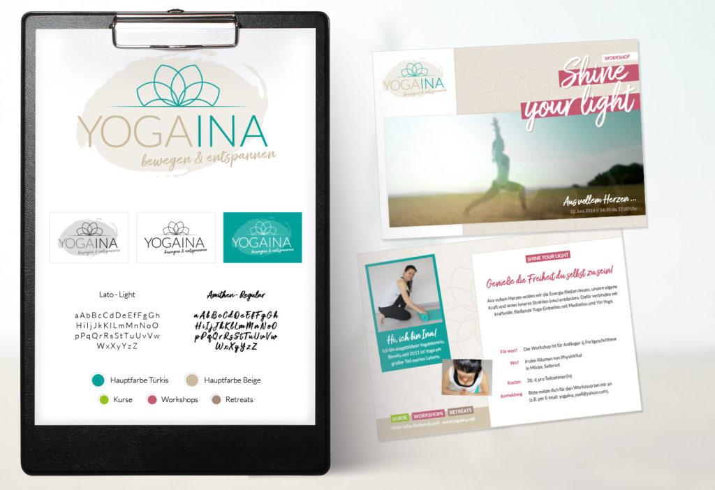 Geschäftsausstattung und Corporate Design: YOGAINA - Yogatrainerin - Karina Samtleben