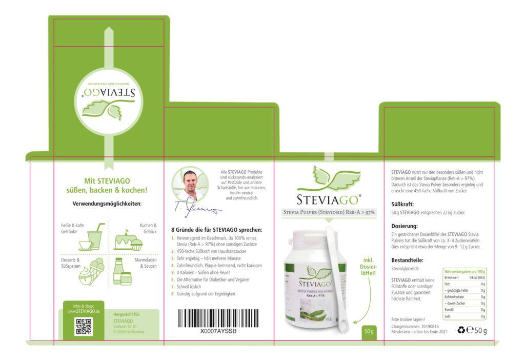 Verpackungsdesign (Stanzform) und Illustrationen für Verwendungsmöglichkeiten - STEVIAGO (Stevia Pulver)