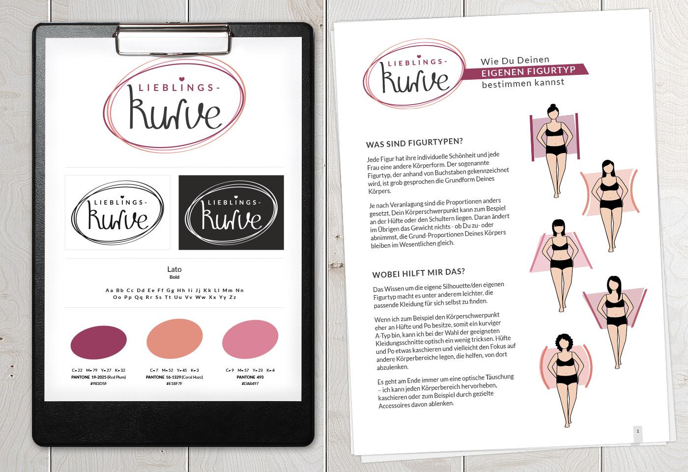 Geschäftsausstattung und Corporate Design: Lieblingskurve – Mode- & Stilberatung (Milena Georg)