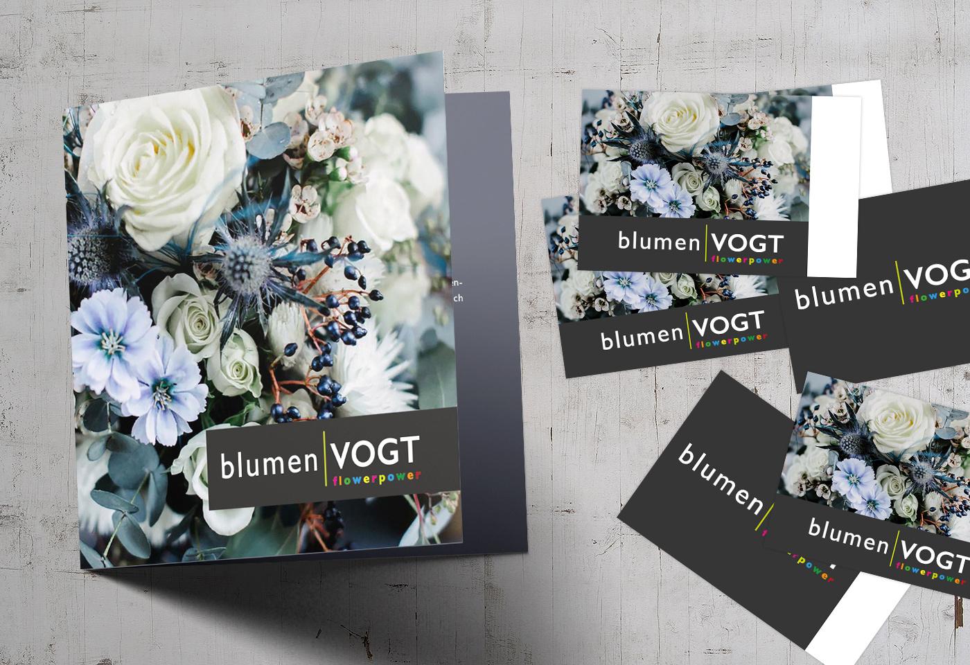 Geschäftsausstattung/Flyer- & Visitenkartendesign: blumenVOGT Giessen